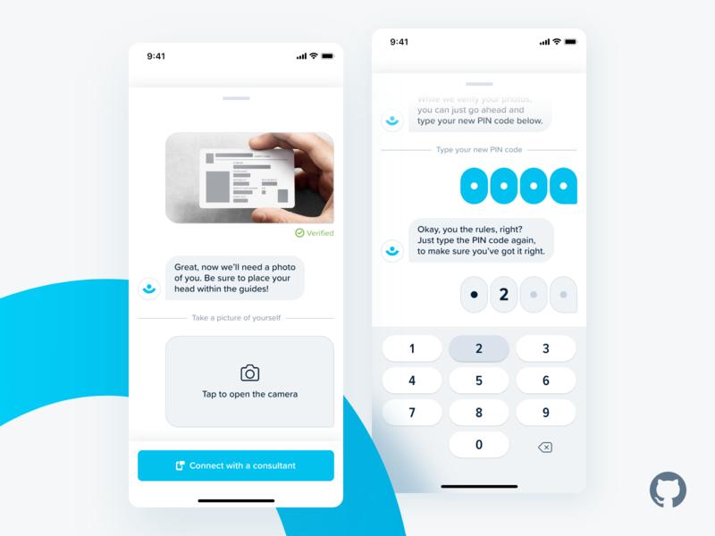 Fintech App – Reset PIN (CUI) animation branding conversational ui cui illustration interaction design mobile mobile app design print product design typography web design