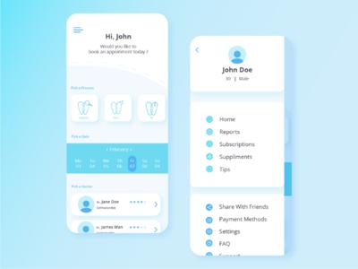 Dental App - UI Concept app concept illustration user experience mobile app design uiux user interface ux modern minimal ios health wellness dental app android ui