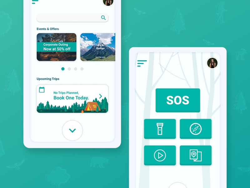 Camping App UI design vector ux app user experience userinterface ui