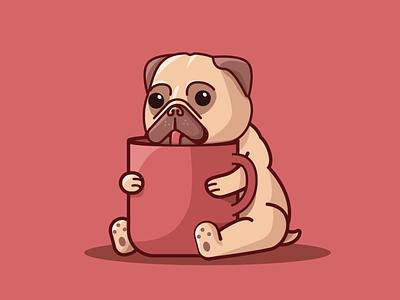 Monday Pug flat inspiration vector illustration graphic design graphic vector design illustration