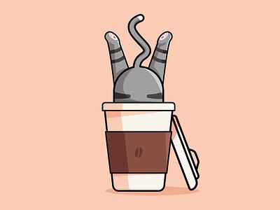 Coffee Addict ☕️ cat coffee creative inspiration vector illustration graphic design graphic vector design illustration