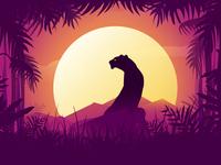 Black panther at sunset