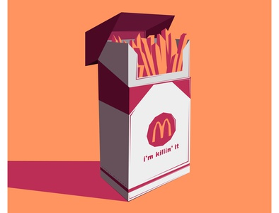 Killin' it packaging colours food fries mcdonalds cigarette logo lettering minimal vector flat illustrator illustration design artwork art