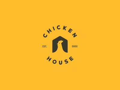 Chicken House design art logodesign dribbble chicken branding typography lettering minimal vector flat logo illustrator illustration design artwork art