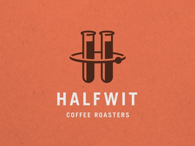 Halfwit Coffee Roasters coffee roasters logo mark identity orange brown chicago science test tube electron h