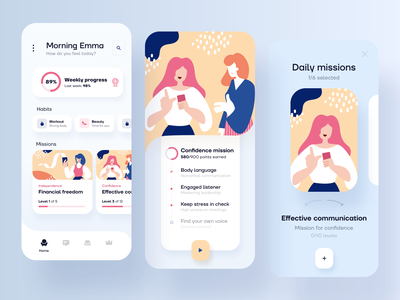 Women empowering mobile app design feminine design feminine feminism progress progressbar levels habit tracker habits missions tracking app illustration cards analytics statistics uxdesign application modern mobile mobile app app design