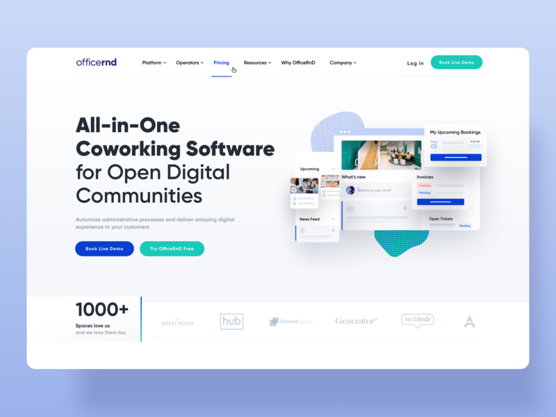 Coworking Office Management Landing Page landing design digital software landing page software cards modern application statistics minimal ux design landing page design landing page management system management coworking