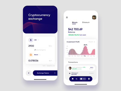 Financial wallet mobile app for startup ux ui statistics investment crypto exchange fintech crypto wallet card blockchain mobile minimal bitcoin app analytics transaction money crypto budget banking finance