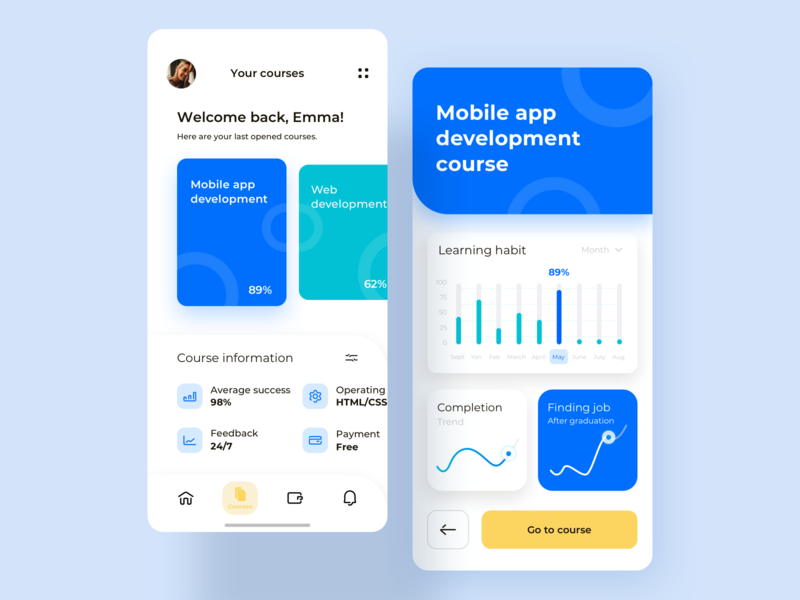 Online education mobile app concept uxdesign bright colors stats statistics learning app learning lean ux lean minimalistic minimal modern course app ux ui app design tracking knowledge education mobile app mobile