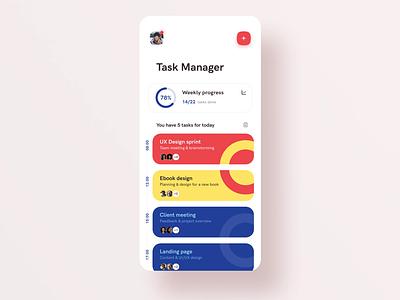 Task manager mobile app interaction animation interaction cards design management app management task manager cards todolist todo task list tasks illustration uxdesign minimal modern mobile mobile app app application app design