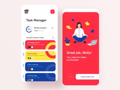 Task manager mobile app bright mobile app design mobile design ui ux tasks todolist todo taskmanager manager cards analytics statistics uxdesign application app modern mobile app mobile app design