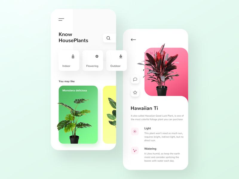 Houseplant app blog user interface ui design houseplant flower icon app ux ui design