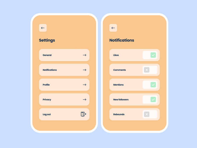 Daily UI #7 — Settings