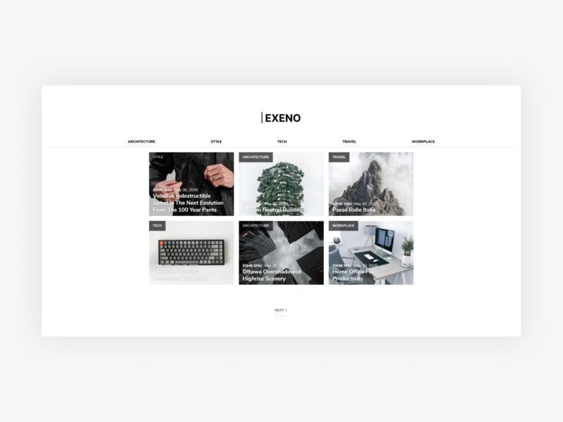 Exeno Blog Web Design ui design minimalistic minimalist minimalism minimal website design website web design webdesign web