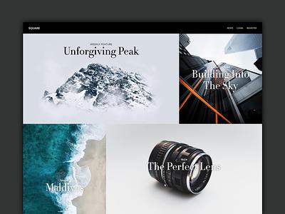Square UI/UX Web Design portfolio site portfolio blog design blog ux ux design ux  ui ui design ui  ux ui minimalistic minimalism minimalist minimal magazine website design webdesign web design website web