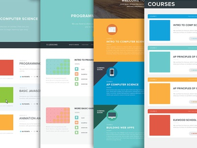 Wireframes for daze icons landing page website courses wireframes mocks flat colors