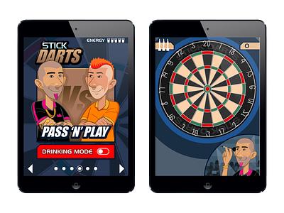 Stick Darts mobile illustration design concept game