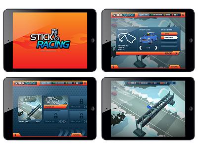 Stick Racing mobile ui illustration design game