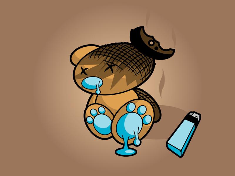 Burnt Ted teddy ted illustration