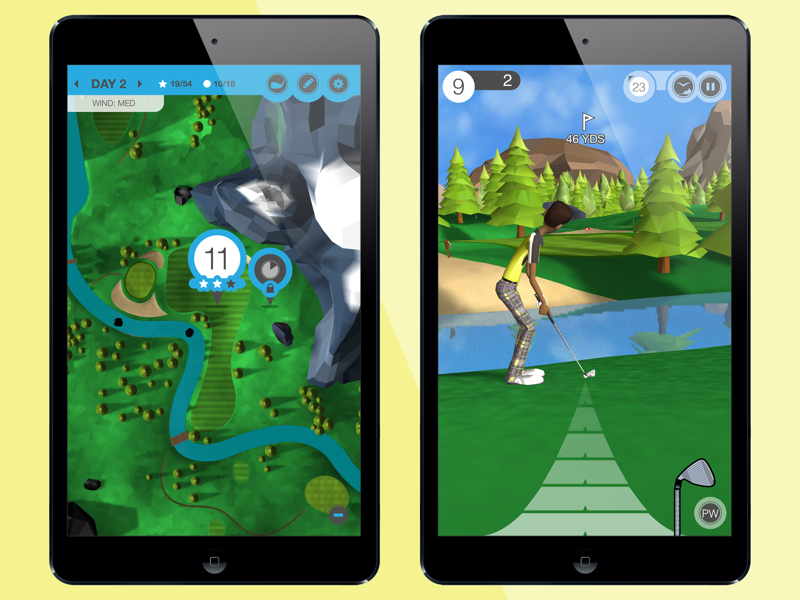 Golf Valley sticksports valley golf ui game mobile illustration design