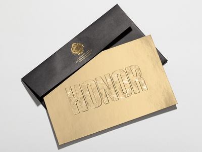 Honor FW14 Invite honor hightidecreative hightide goldfoil invite print packaging