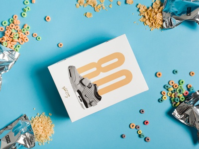 Victor Cruz x Nike x Kith Treats Cereal Box colorful fun release limited edition shoe sneaker sport nike cereal art direction graphic design packaging