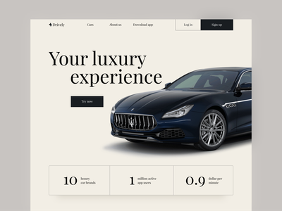 Daily UI #003 Landing Page luxury carsharing landingpage webdesign uiux clean ui minimalism minimalistic simple design dailyui