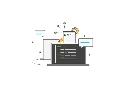 Technology message gear connect technology browser code development ux icon abstract illustration design