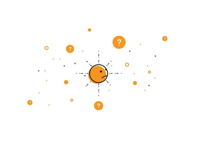 Where to? confused icon graphic character space orange question error illustration