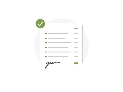 Signed form card email signature signed list check ui illustration icon