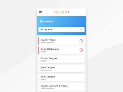 Order Requests Prototype icons list menu navigation ux interface prototype app design ui
