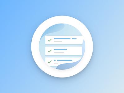 Completion illustration design checklist blue water sphere fluid confirmation task list branding illustration