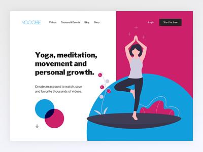 Yogobe - Yoga Start Page uidesign uxdesign illustration clean bold colors meditation yoga blue pink home start page uiux ui bold