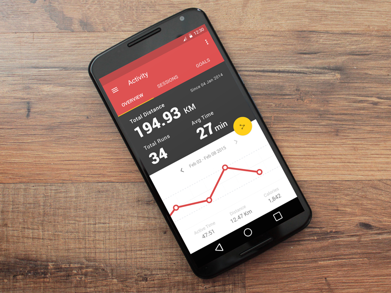 Running & Tracking App material design ui design running tracking fitness android google