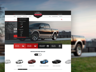 Pembina Chrysler layout dealership cars clean ui homepage