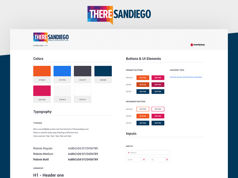 ThereSanDiego - Style Guide clean style guide ux ui design ui kit