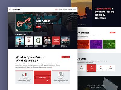 Sparemusic Homepage UI album ui ux homepage landing page layout one-page music ux ui design