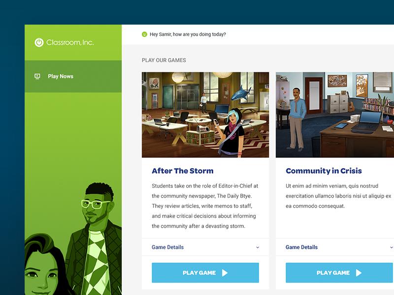 Classroom Inc - Playnows modern clean dashboard game gaming ui user interface