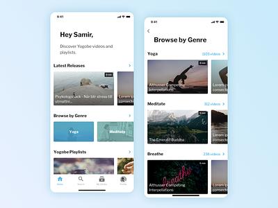 Yogobe - iOS app iterations meditation yoga modern minimal clean video library mobile design mobile uxdesign uidesign uiux ui ios