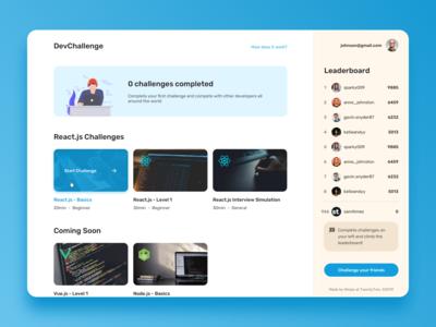 Dev challenges platform concept
