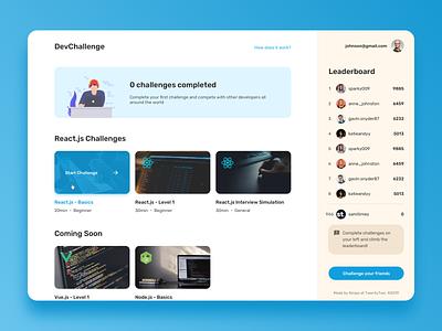 Dev challenges platform concept react simple clean dashboard gamification challenge dev ux uxdesign uidesign uiux ui