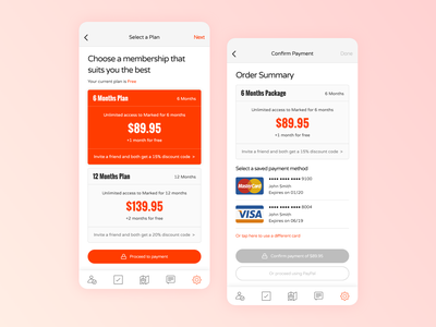 Marked - iOS subscription payment simple clean ios mobile uidesign ui uiux cards card