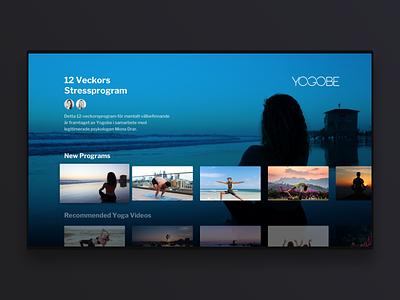 Yogobe TV app concept appletv mobile video simple minimal clean meditation yoga uxdesign uidesign ux uiux ui tv