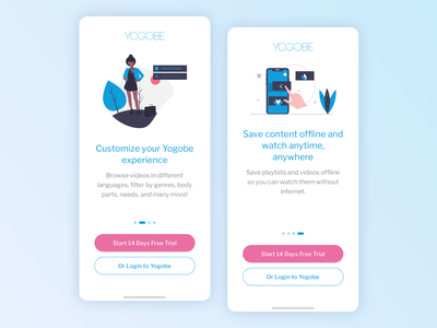 Yogobe - iOS app onboarding illustraion clean mobile ios prototype uxdesign uidesign ux ui walktrough onboarding