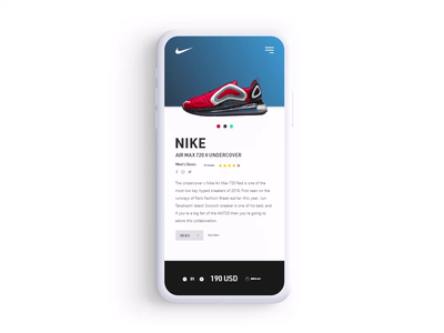 Customize Product product customize navigation nike shoe commerce shop adobe xd app ux ui dailyui 033