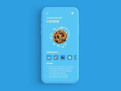 Cookie App 040 recipe chip chocolate cookie card daily 100 challenge navigation ux mobile app app adobe xd dailyui ui