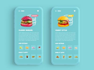 Burger Menu food menu burger vegan 043 daily 100 challenge navigation ux mobile app app adobe xd dailyui ui