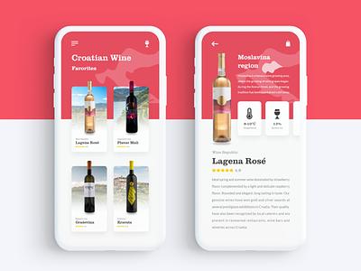 Wine Favorites croatia 044 favorites wine daily ui daily 100 challenge navigation ux mobile app app adobe xd dailyui ui