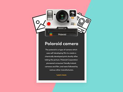 Info Card polaroid camera info card web design daily 100 challenge navigation ux app adobe xd dailyui ui