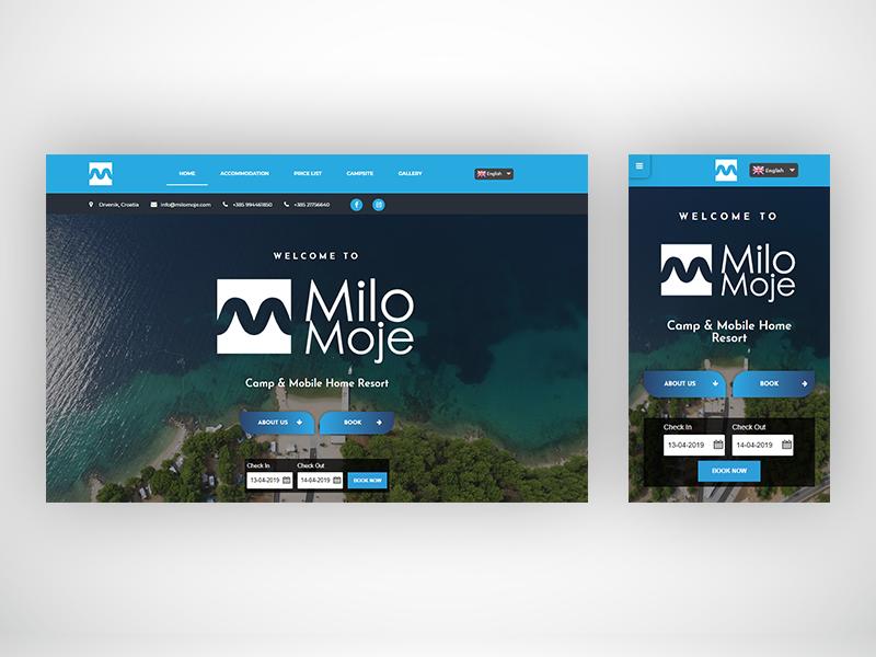 MiloMoje web site landing website web page web design ui